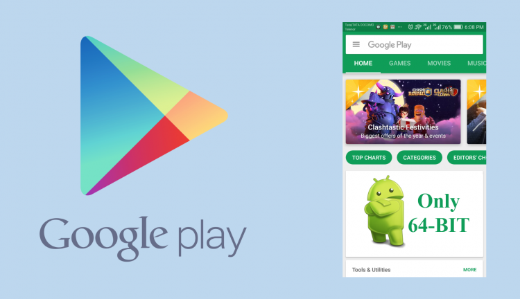 Google Supports only 64-bit Android Apps