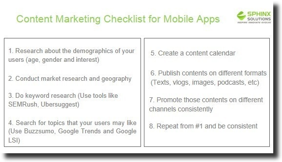 content marekting checklist for mobile apps